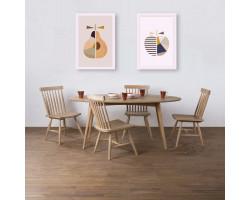 Kiruna Meja Makan Oval dan Kursi Arvika